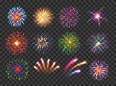Big set of various fireworks with brightly shining sparks. Colorful pyrotechnics show. Realistic fireworks celebration isolated vector illustration. Beautiful light performance in night sky.