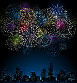 Large firework display with city skyline.  File is layered, global colors used and hi res jpeg included. Only simple gradients used. Please take a look at other work of mine linked below.