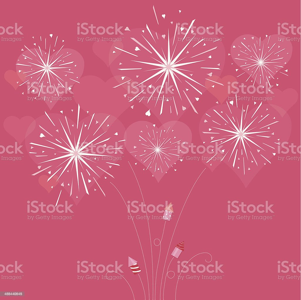 Fireworks with hearts and rockets of love royalty-free stock vector art
