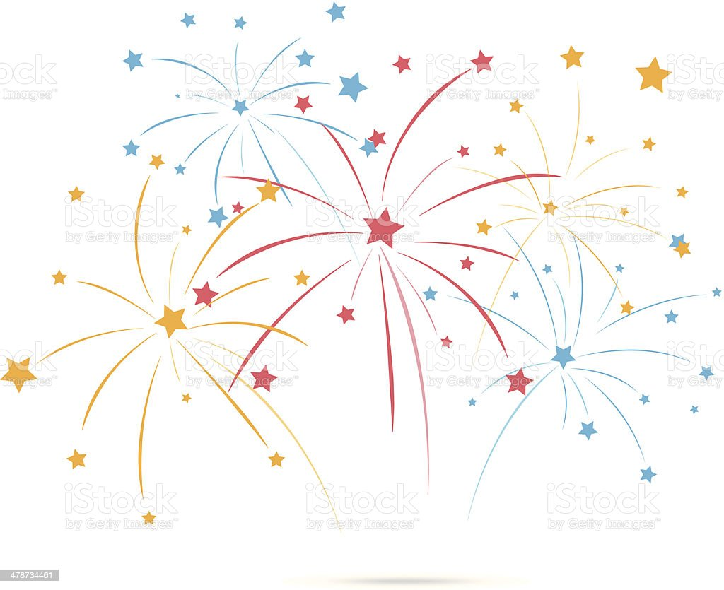 Fireworks with star on white background vector art illustration
