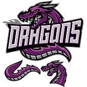 An aggressive team Dragon spitting fire.