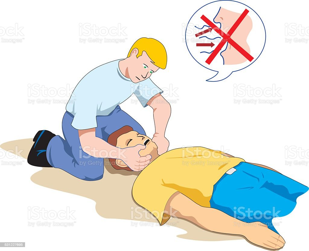 First aid, aid to an unconscious person checking breathing vector art illustration