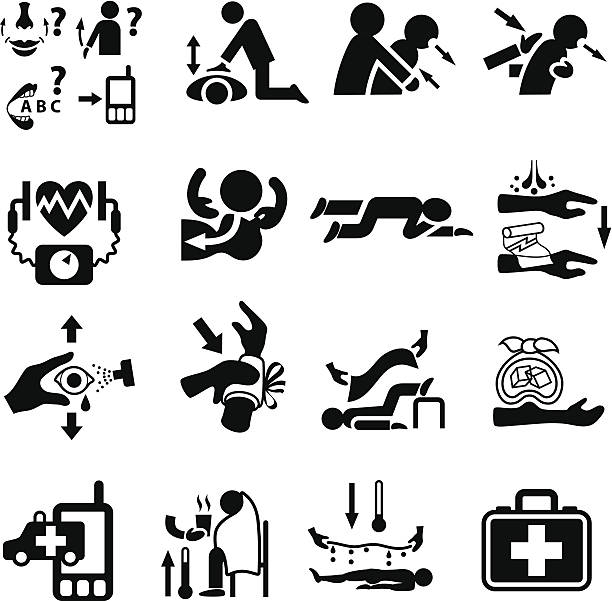 first aid and emergency icon set - first aid stock illustrations, clip art, cartoons, & icons
