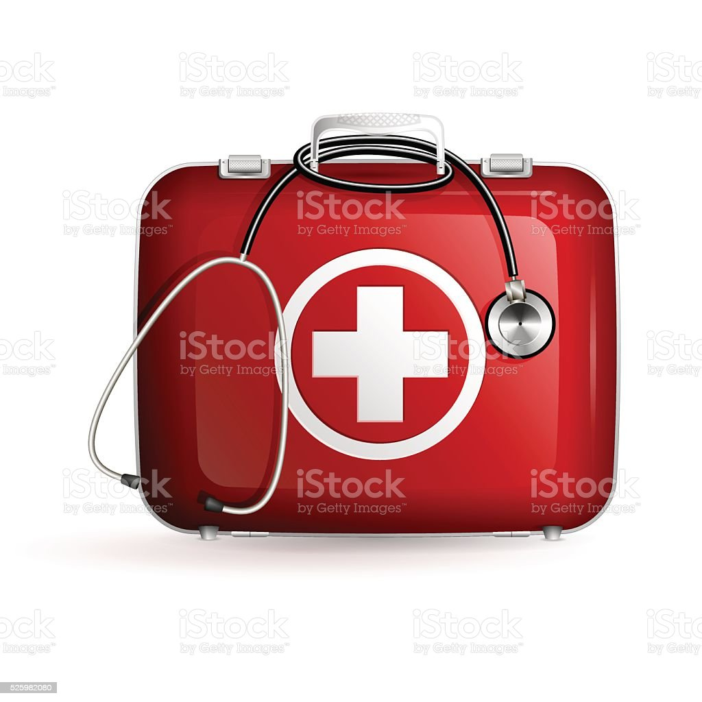 first aid box with stethoscope on white background vector art illustration