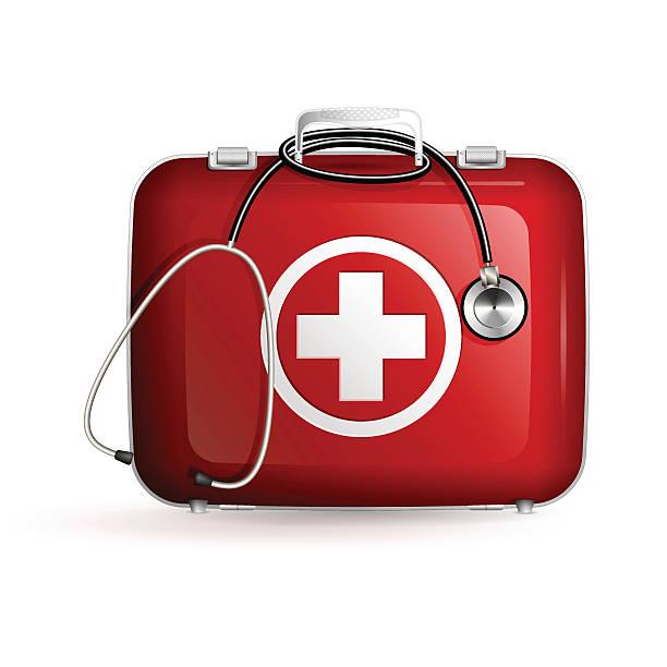 救急箱に白を背景にした聴診器 - 救急救命士点のイラスト素材/クリップアート素材/マンガ素材/アイコン素材
