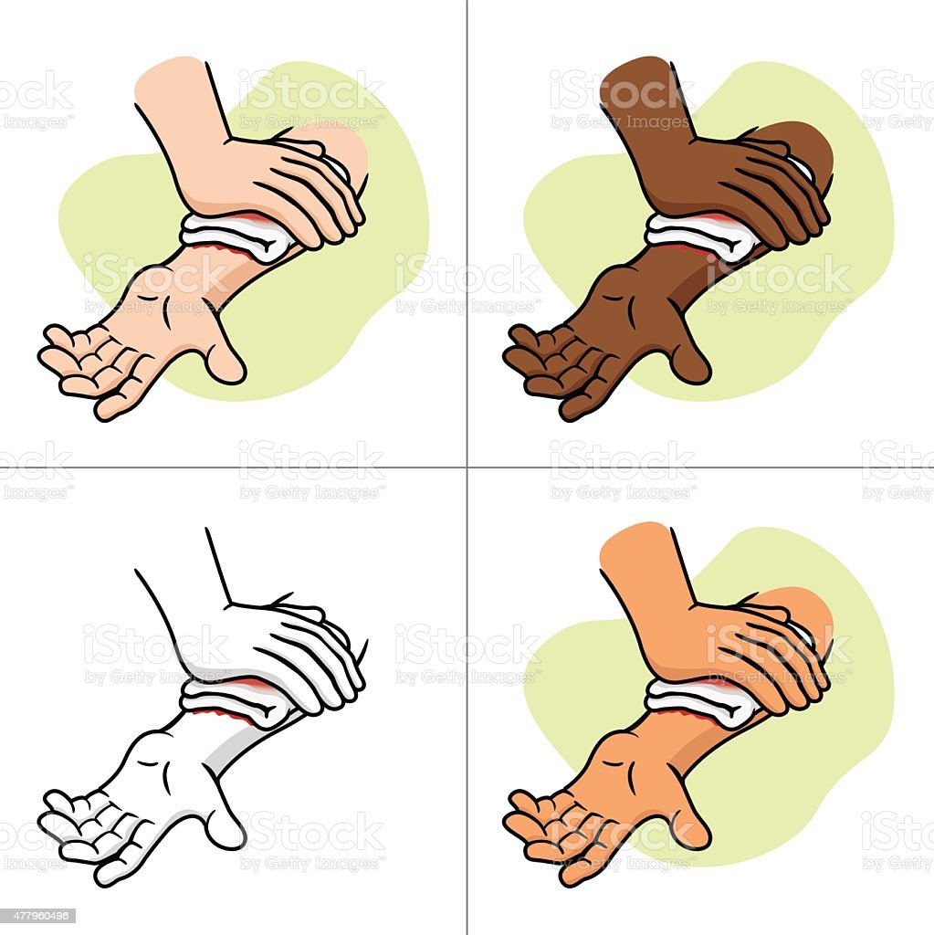 First Aid compression injury in the arm. vector art illustration