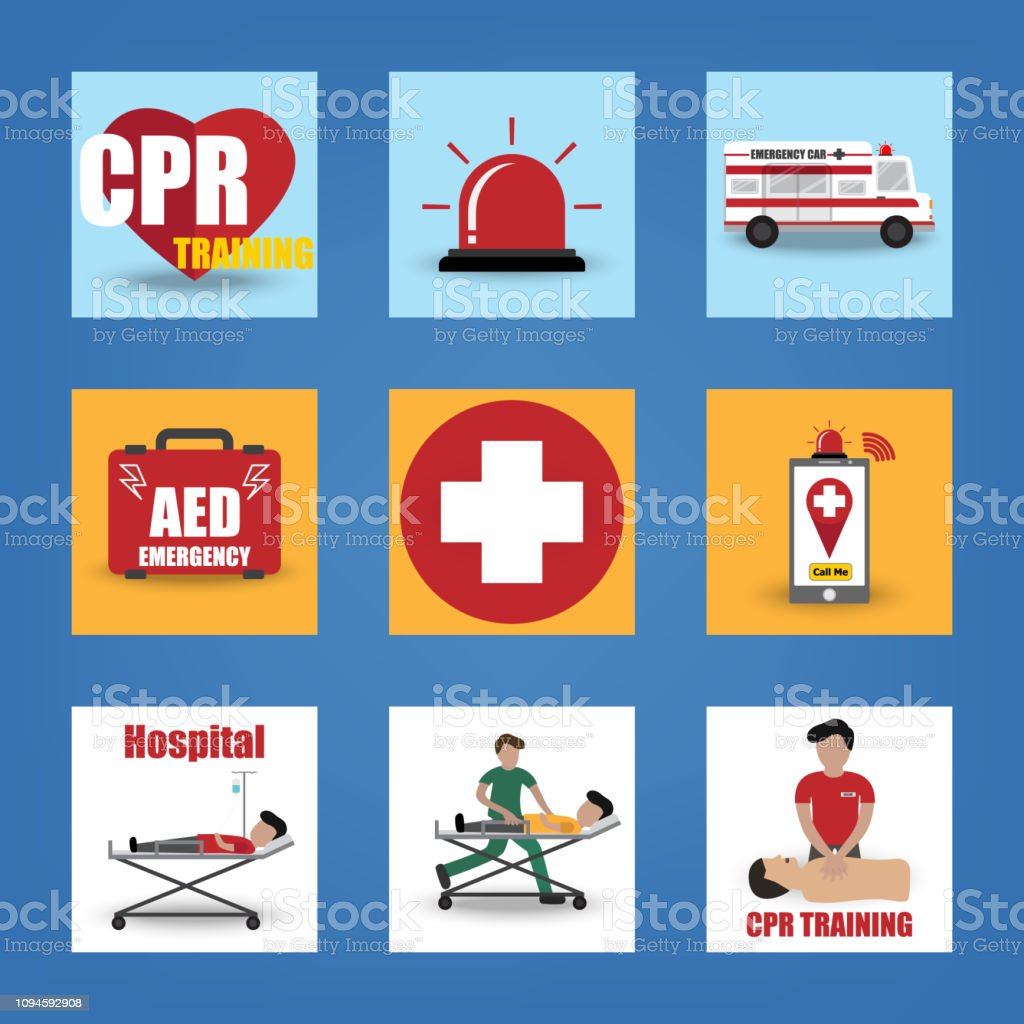 First Aid CPR Training Emergency Rescue Paramedic Flat Icon with AED , Ambulance , Silent , Doctor and Patient vector art illustration
