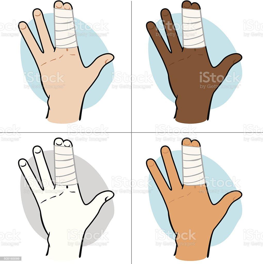 Ilustración de First Aid Vestidor Con Vendas En Los Dedos étnica y ...