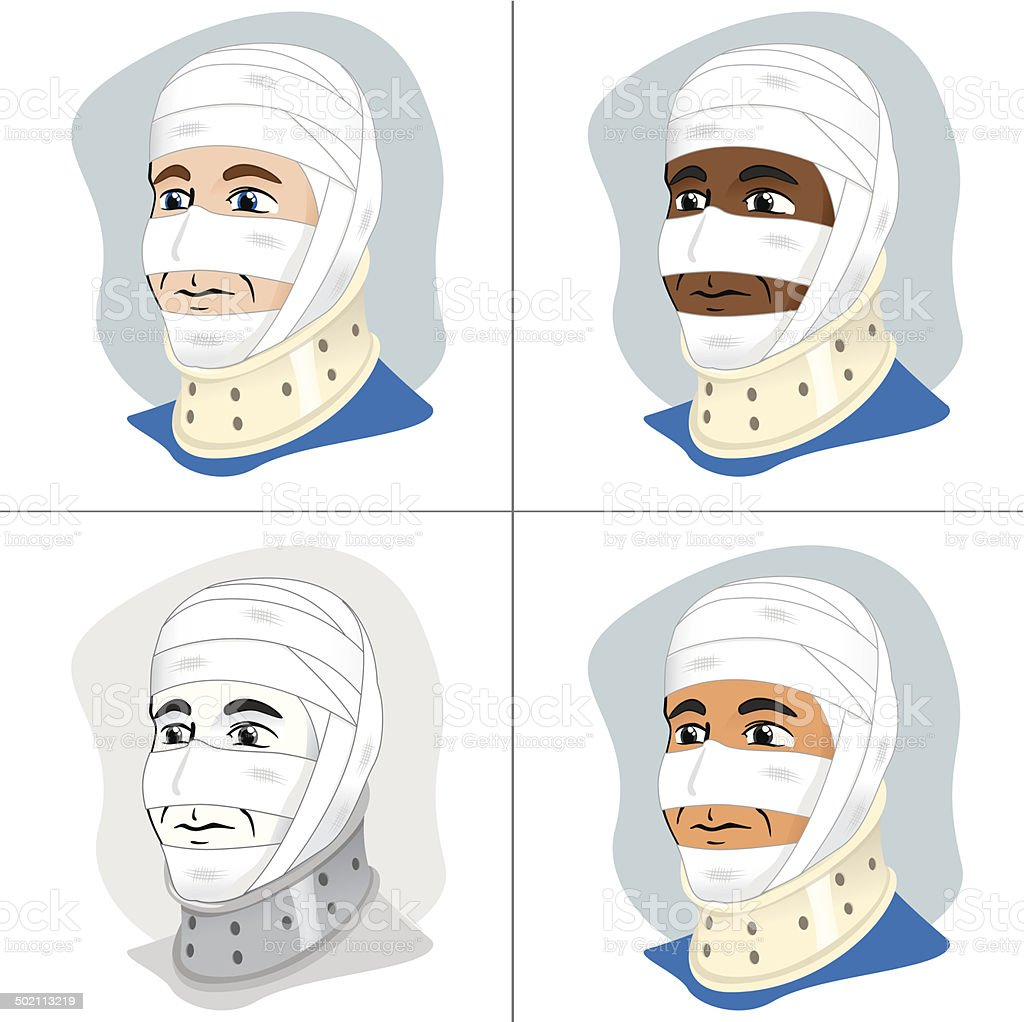 First Aid dressing with bandages on head and neck collar vector art illustration