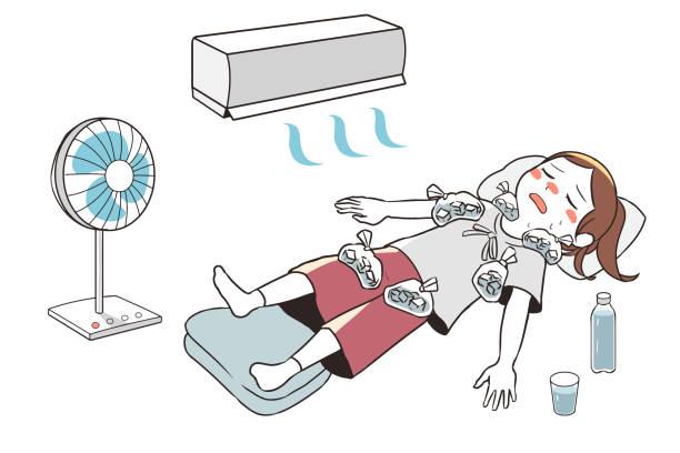 熱中症の応急処置(女性) ベクターアートイラスト