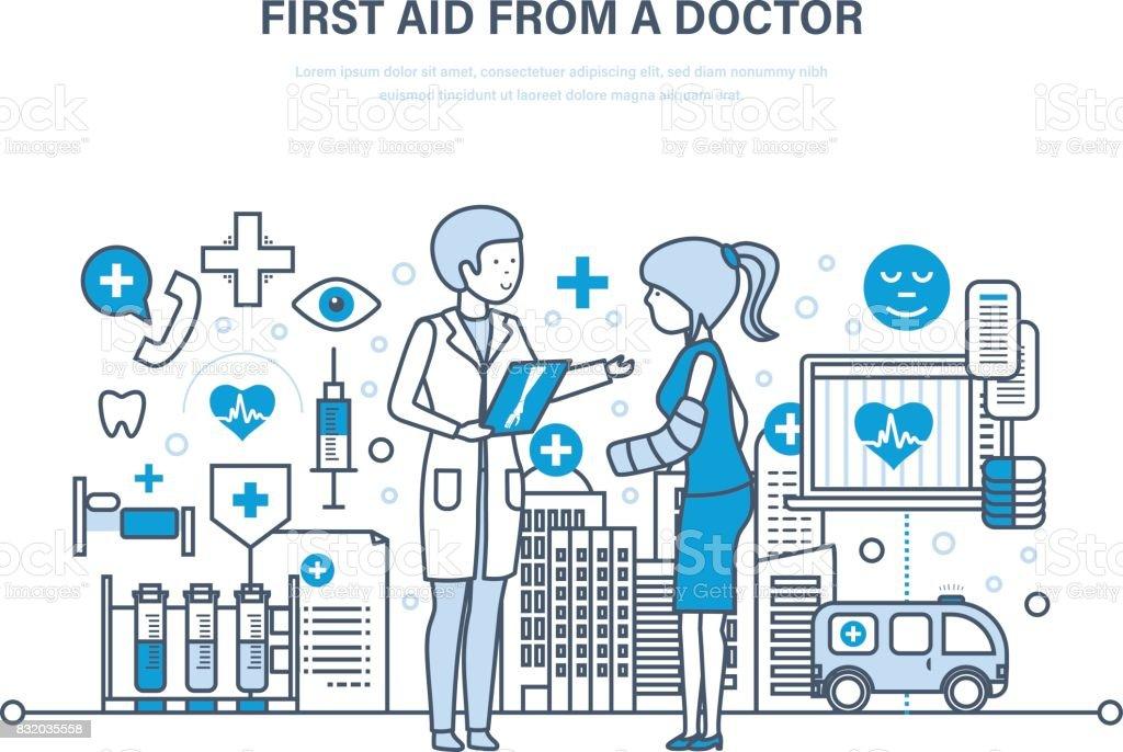 Erste Hilfe aus der modernen Medizin, medizinische Versorgung, Gesundheitswesen, Arzt, Versicherung – Vektorgrafik