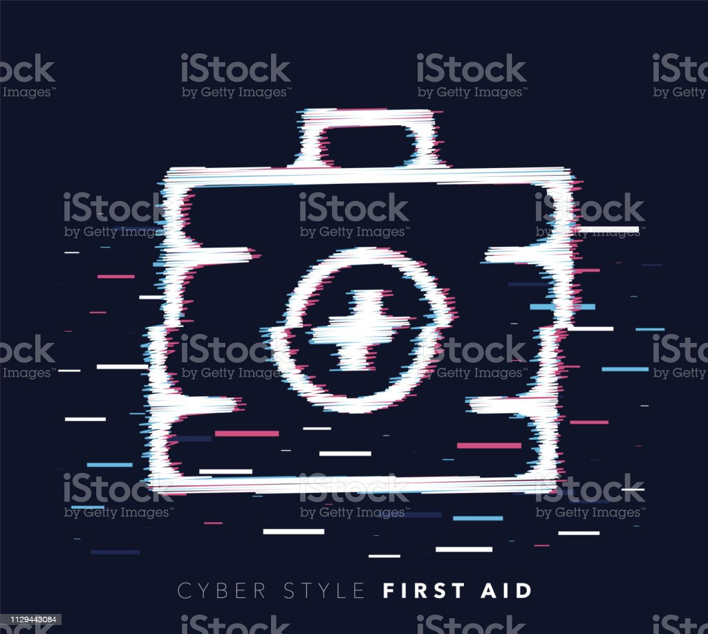 First Aid Glitch Effect Vector Icon Illustration Stock Illustration