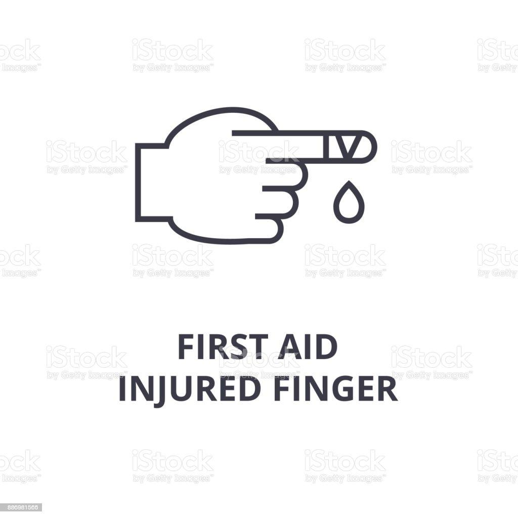Erste Hilfe, verletzten Finger Liniensymbol, Umriss Zeichen, lineare Symbol, Vektor, flache Abbildung – Vektorgrafik