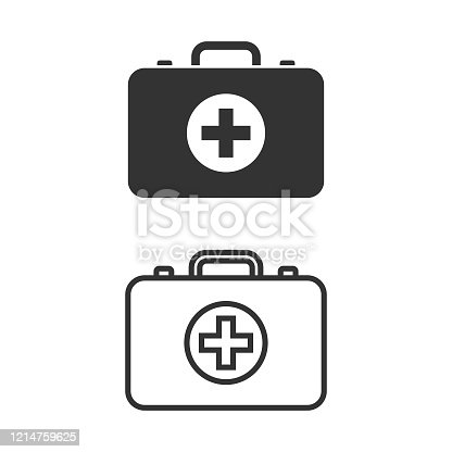 istock First Aid Kit and Med Kit Icon Vector Design on White Background. 1214759625