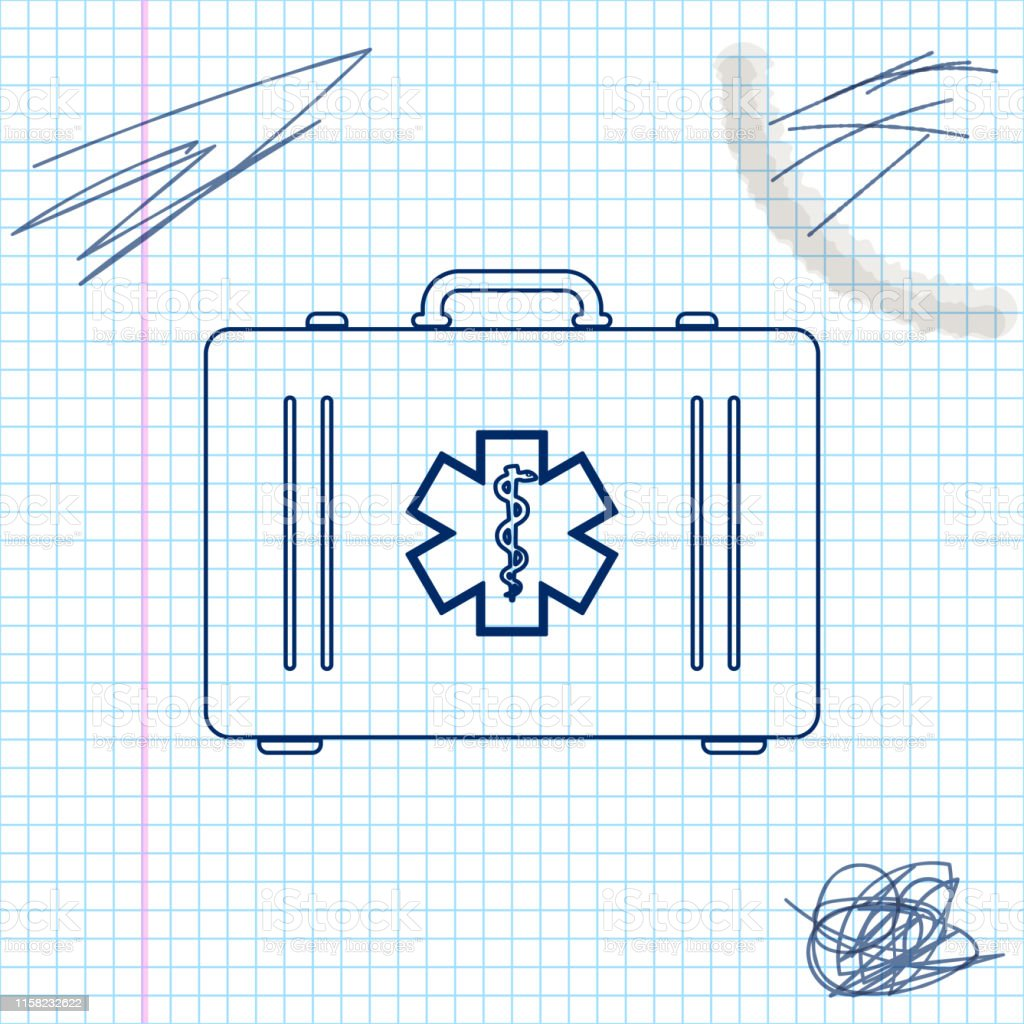 First aid kit and Medical symbol of the Emergency - Star of Life line...