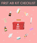 First aid kit cartoon checklist vector illustration. Medical equipment and pills for patient. Health care banner, poster. Bandage, plaster, drugs, syringe and thermometer. Treatment.