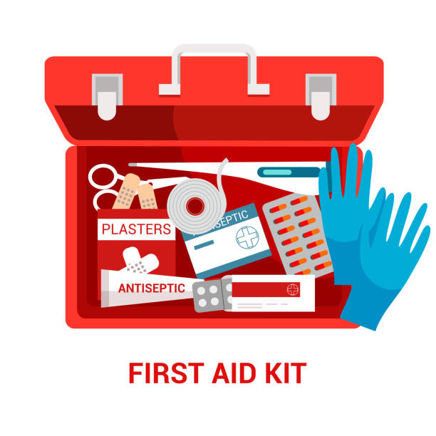 First aid kit flat vector illustration First aid kit flat vector illustration. Red box with medications. Emergency and paramedic service tool. Medical equipment isolated clipart on white background. Medicine and healthcare poster design first aid stock illustrations