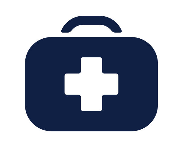 first aid kit glyph icon - first aid stock illustrations, clip art, cartoons, & icons