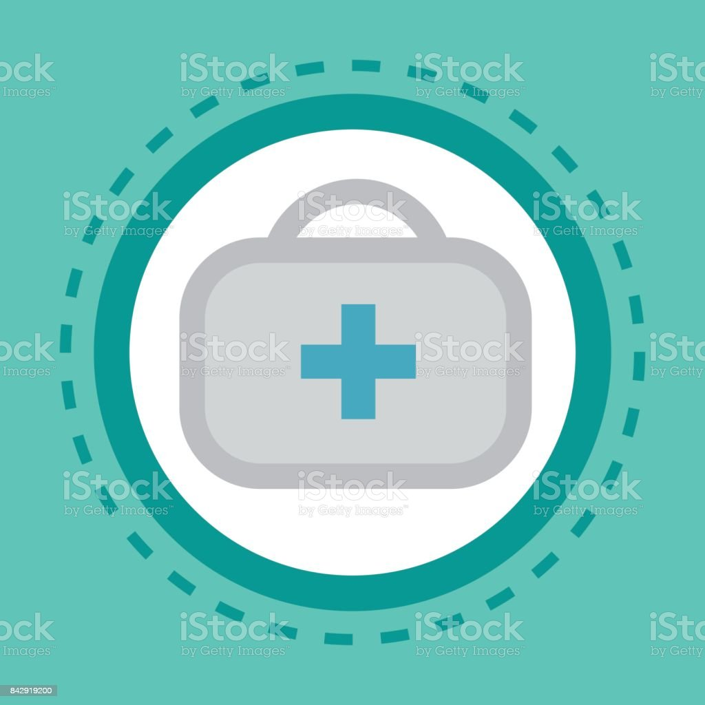 First Aid Kit Icon Online Consultation Button Concept Health Care