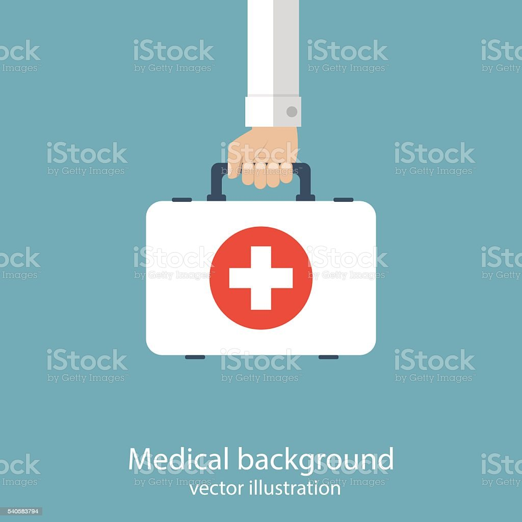 First aid kit in hands doctor vector art illustration