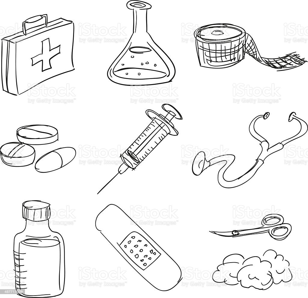 First aid kit in sketch style
