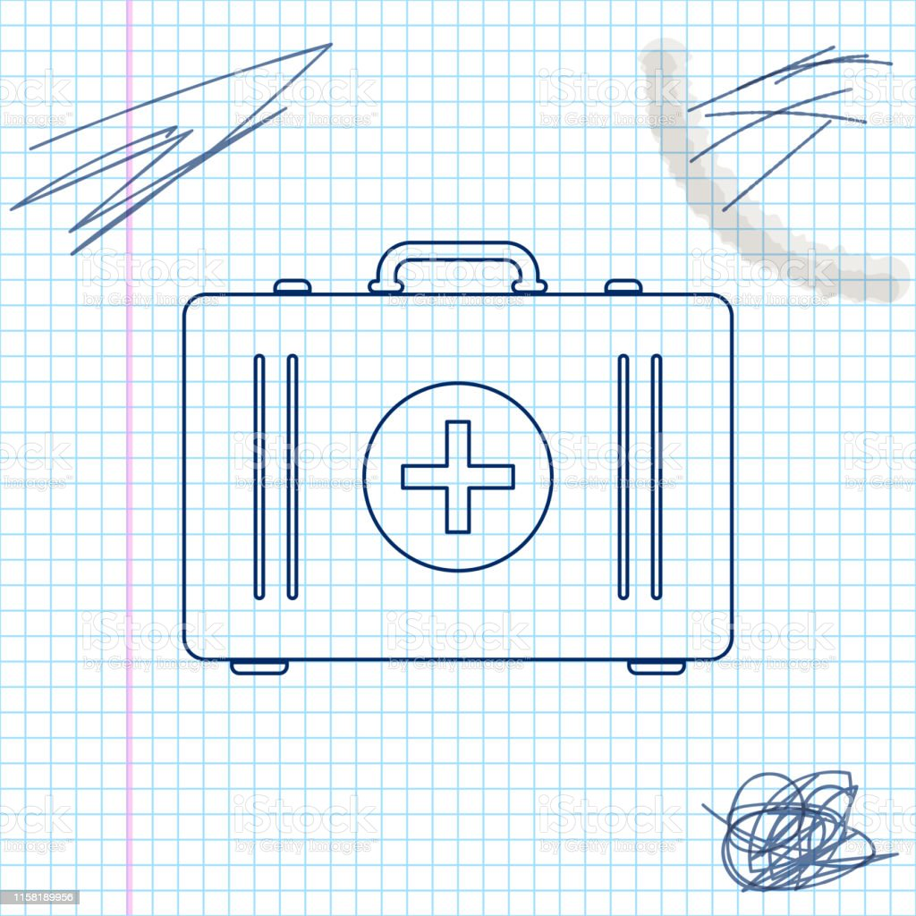 First aid kit line sketch icon isolated on white background. Medical...