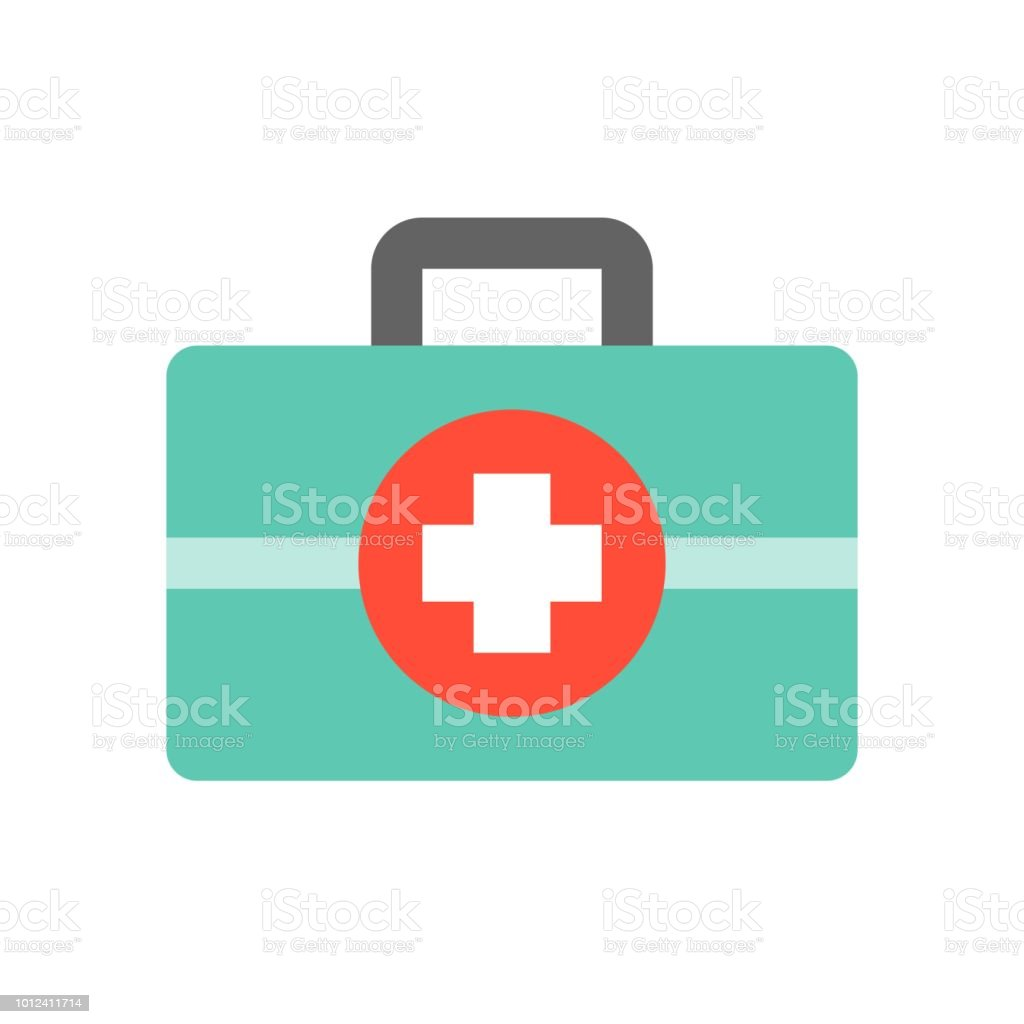 First Aid Kit Medical And Hospital Related Flat Design Icon Set