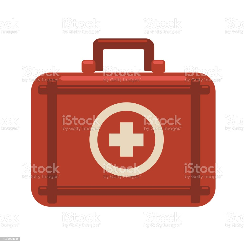 First aid kit. Red medicine chest with white cross. Vector flat icon illustration, isolated on white background. – artystyczna grafika wektorowa