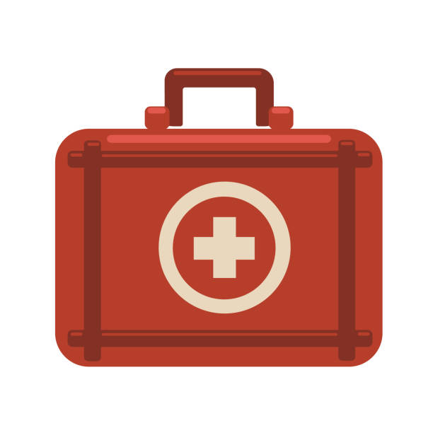 first aid kit. red medicine chest with white cross. vector flat icon illustration, isolated on white background. - first aid stock illustrations, clip art, cartoons, & icons