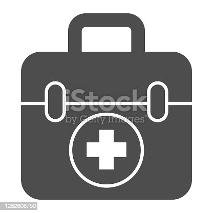 istock First aid kit solid icon, Medical concept, Medical Kit sign on white background, First aid box with cross icon in glyph style for mobile concept and web design. Vector graphics. 1282606750