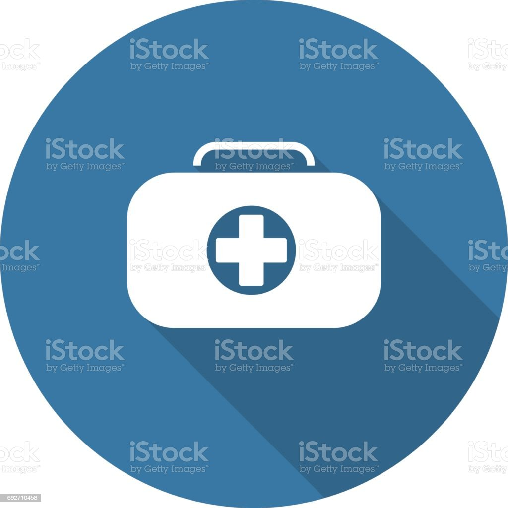 First Aid Kit Symbol And Medical Services Icon Flat Design Stock ...