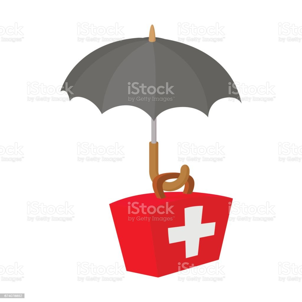 First aid kit under umbrella icon, cartoon style royalty-free first aid kit under umbrella icon cartoon style stock vector art & more images of assistance