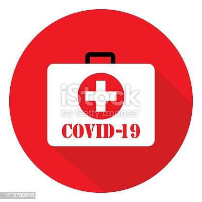 Vector illustration of a COVID-19 first aid kit icon.