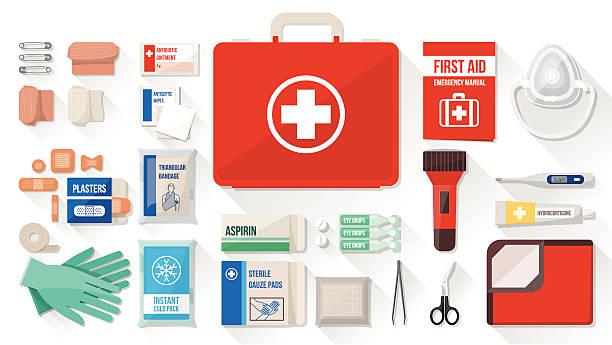 illustrazioni stock, clip art, cartoni animati e icone di tendenza di kit di primo soccorso - crioterapia
