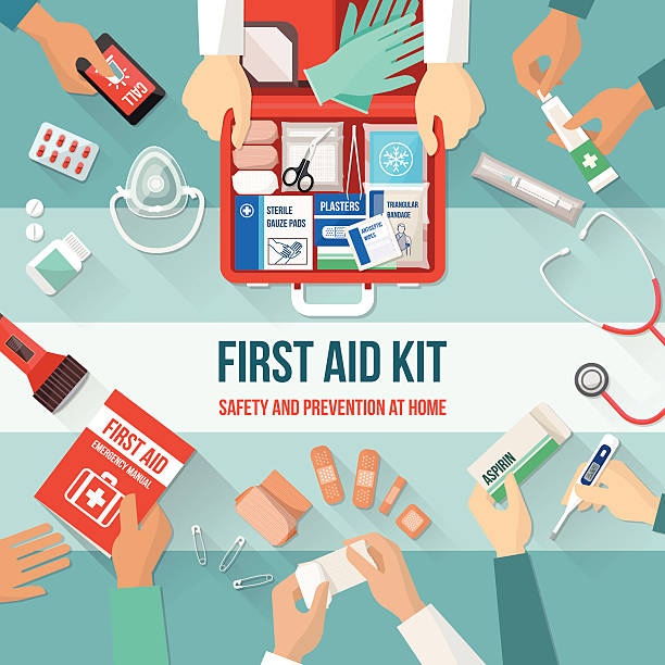 first aid kit - first aid stock illustrations