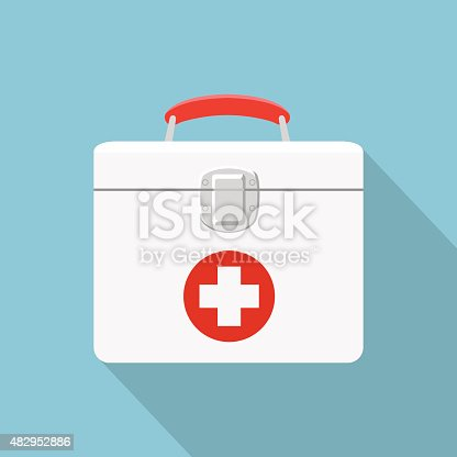 Flat illustration of medical box.