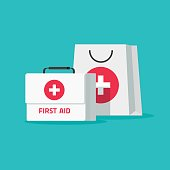 First aid kit vector illustration, flat cartoon medical bag and case
