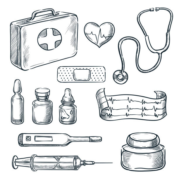 First aid kit vector sketch illustration. Medicine and healthcare hand drawn icons and design elements First aid kit vector sketch illustration. Medicine and healthcare hand drawn icons and design elements. aspirin stock illustrations