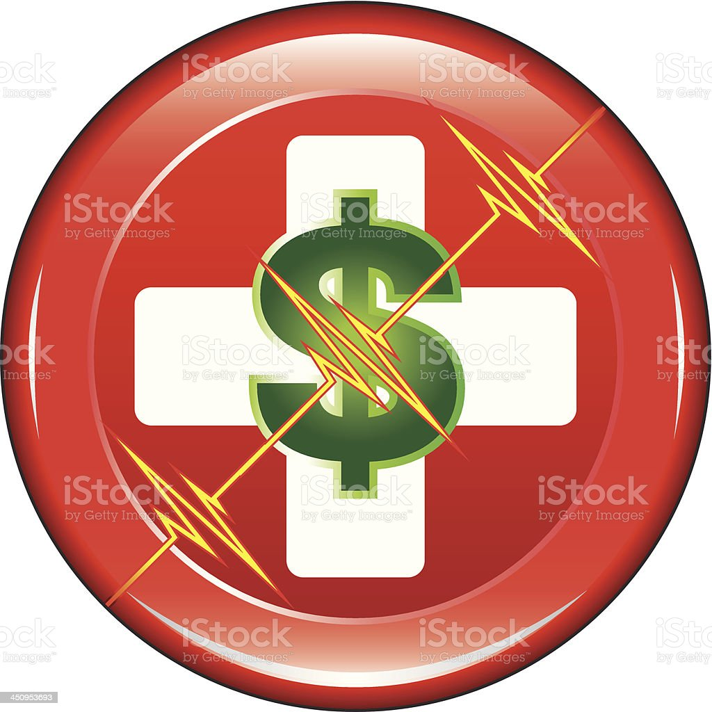 First Aid Medical Cost Button royalty-free stock vector art