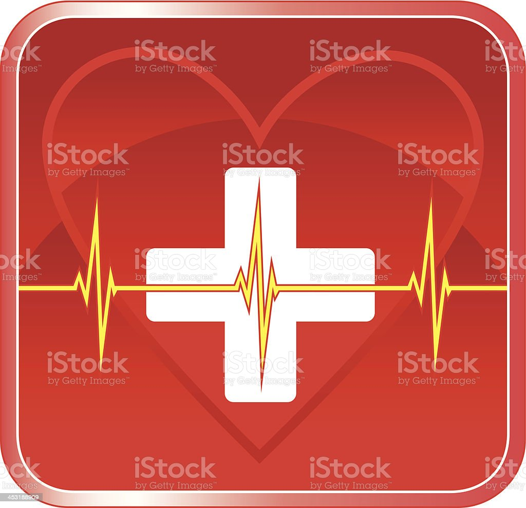 Illustration of a first aid health icon or medical symbol with heart,...