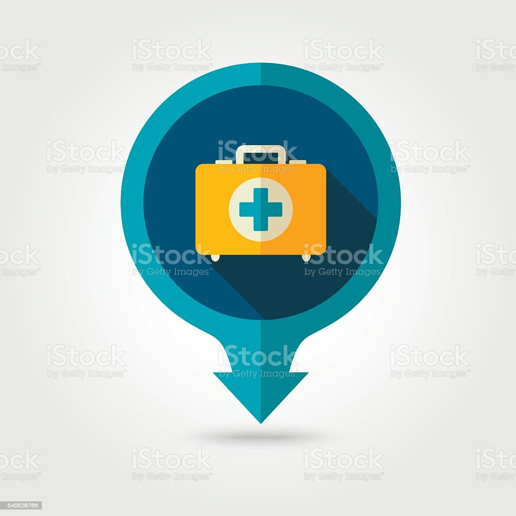 First aid pin map flat icon. Summer. Vacation vector art illustration