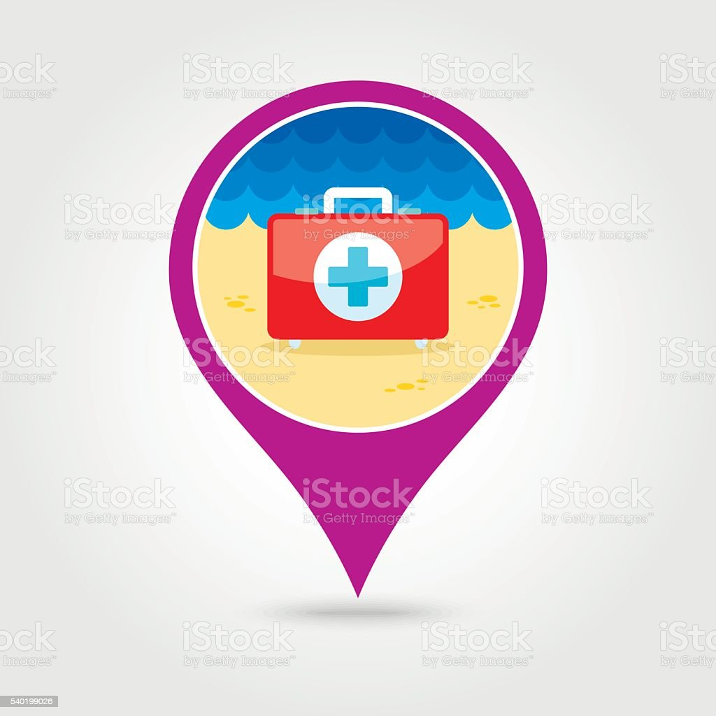 First aid pin map icon. Summer. Vacation vector art illustration