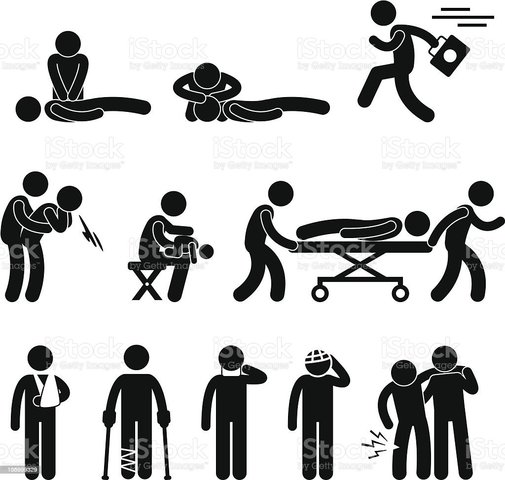 First Aid Rescue Emergency Help Pictogram vector art illustration