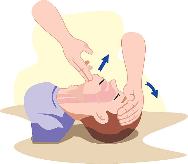 First Aid resuscitation (CPR), clearing breathing, positioning First Aid resuscitation (CPR), clearing breathing, positioning. For resuscitation. Ideal for training materials, catalogs and institutional respiratory tract stock illustrations