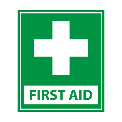 First aid sign and white cross in green background icon vector for graphic design, logo, website, social media, mobile app, UI illustration