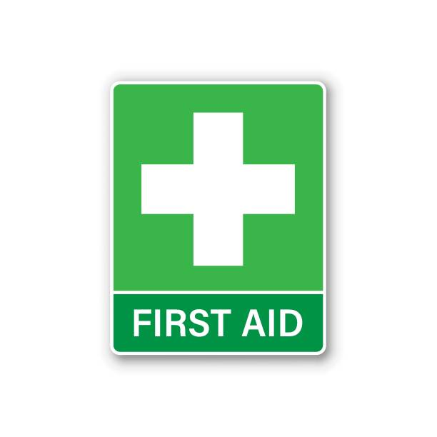first aid sign icon in flat style. health, help and medical vector illustration on white isolated background. hospital business concept. - first aid stock illustrations, clip art, cartoons, & icons