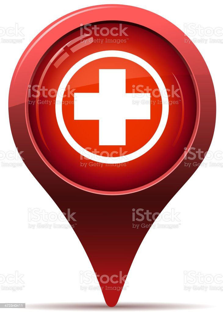 first aid sign pointer vector art illustration