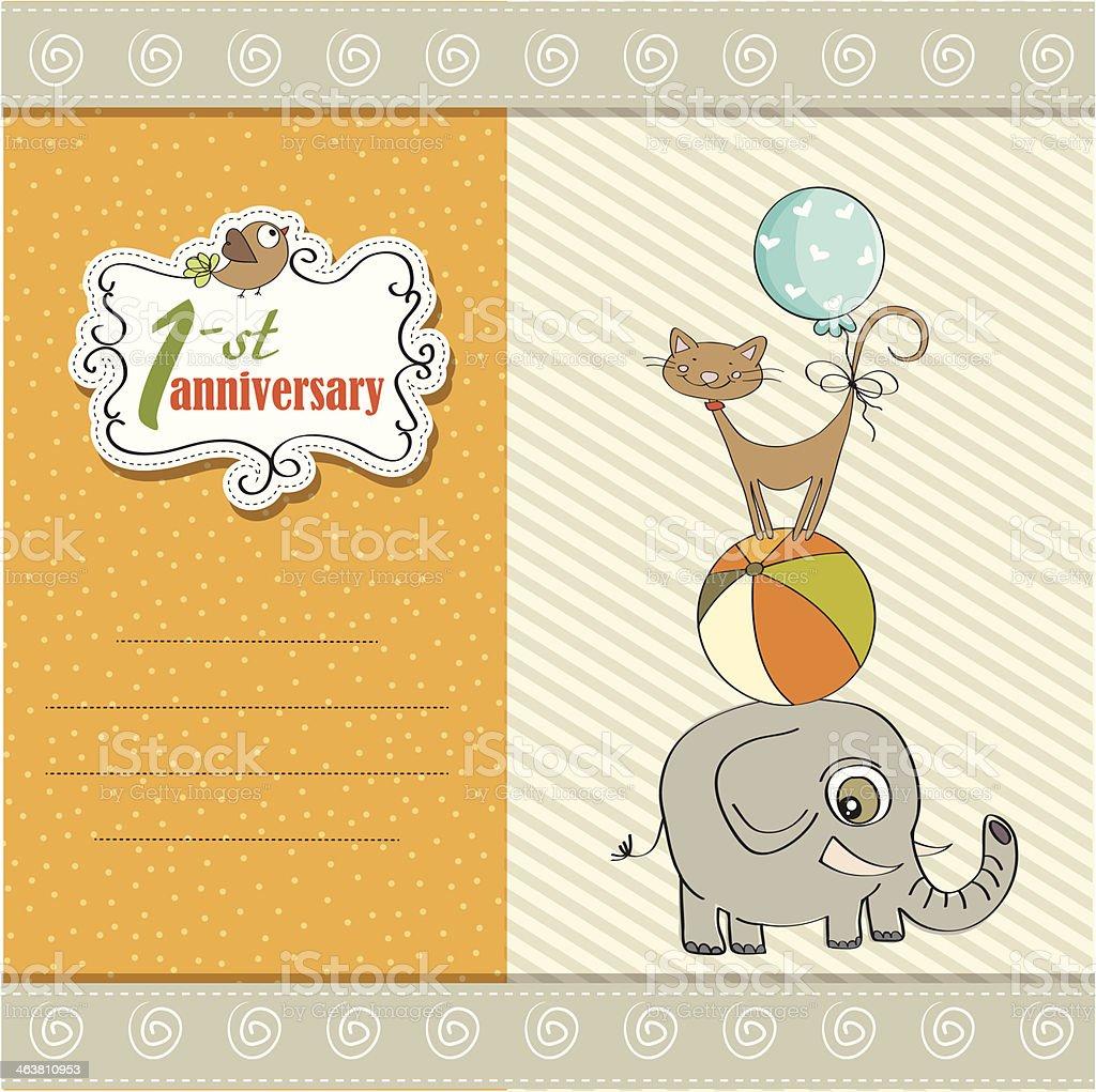 1 年目の結婚記念日のカードにピラミッド型の動物 のイラスト素材