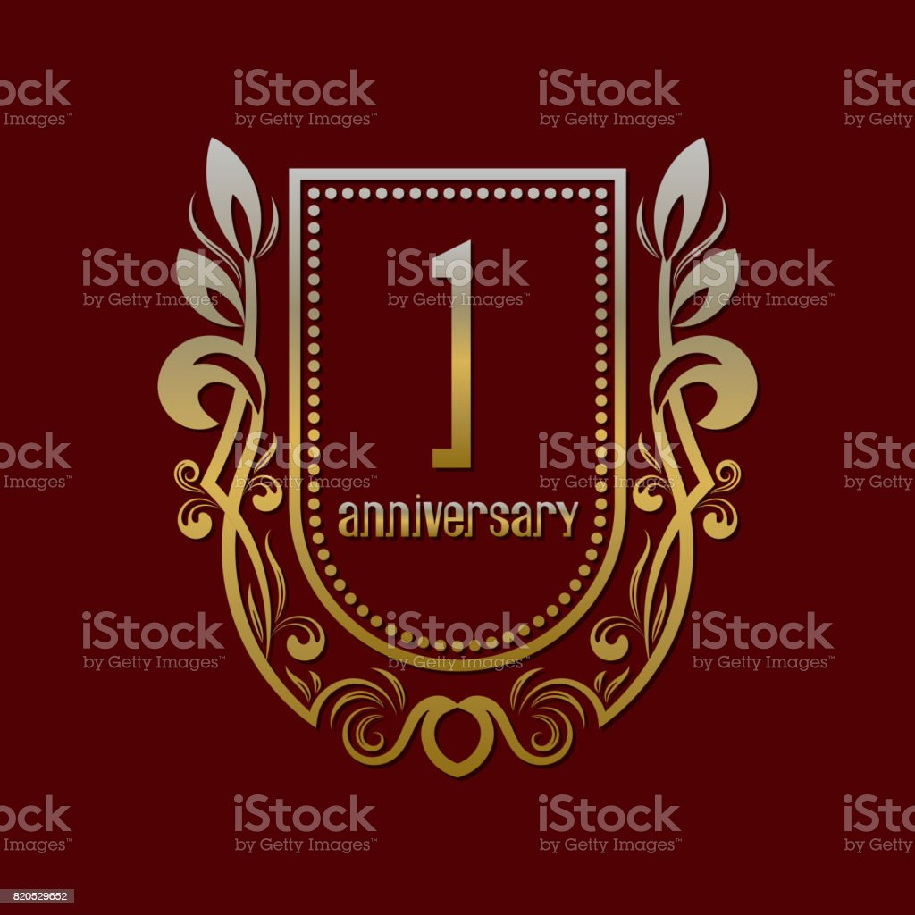 First anniversary vintage symbol. Golden emblem with numbers on shield in wreath. vector art illustration