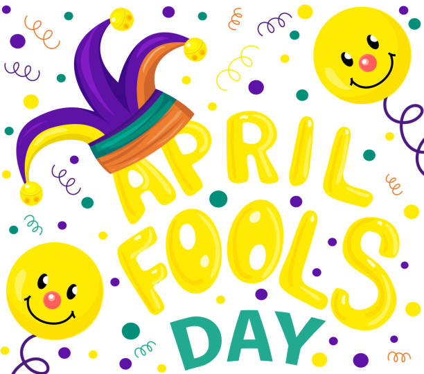 first april fool day, typography colorful card - april fools day stock illustrations